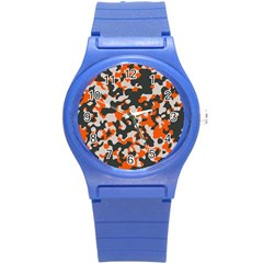 Camouflage Texture Patterns Round Plastic Sport Watch (s) by Simbadda