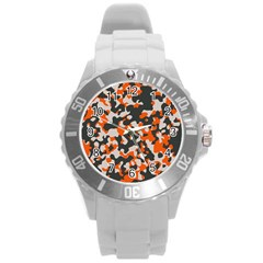 Camouflage Texture Patterns Round Plastic Sport Watch (l) by Simbadda