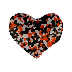 Camouflage Texture Patterns Standard 16  Premium Heart Shape Cushions by Simbadda