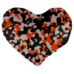 Camouflage Texture Patterns Large 19  Premium Heart Shape Cushions by Simbadda