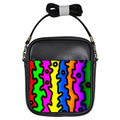 Digitally Created Abstract Squiggle Stripes Girls Sling Bags by Simbadda