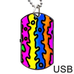 Digitally Created Abstract Squiggle Stripes Dog Tag Usb Flash (two Sides) by Simbadda