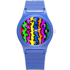 Digitally Created Abstract Squiggle Stripes Round Plastic Sport Watch (s) by Simbadda