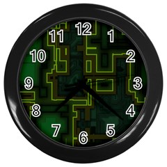 A Completely Seamless Background Design Circuit Board Wall Clocks (black) by Simbadda