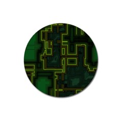 A Completely Seamless Background Design Circuit Board Magnet 3  (round) by Simbadda