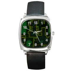 A Completely Seamless Background Design Circuit Board Square Metal Watch by Simbadda