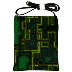 A Completely Seamless Background Design Circuit Board Shoulder Sling Bags by Simbadda