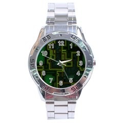 A Completely Seamless Background Design Circuit Board Stainless Steel Analogue Watch by Simbadda