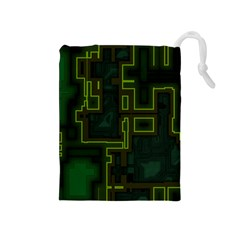 A Completely Seamless Background Design Circuit Board Drawstring Pouches (medium)  by Simbadda