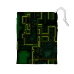 A Completely Seamless Background Design Circuit Board Drawstring Pouches (large)  by Simbadda