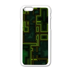 A Completely Seamless Background Design Circuit Board Apple Iphone 6/6s White Enamel Case by Simbadda