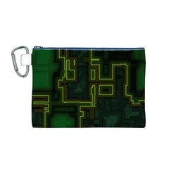 A Completely Seamless Background Design Circuit Board Canvas Cosmetic Bag (m) by Simbadda