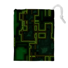 A Completely Seamless Background Design Circuit Board Drawstring Pouches (extra Large) by Simbadda