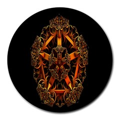 3d Fractal Jewel Gold Images Round Mousepads by Simbadda