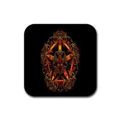 3d Fractal Jewel Gold Images Rubber Square Coaster (4 Pack)  by Simbadda