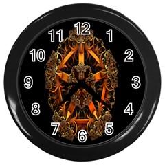 3d Fractal Jewel Gold Images Wall Clocks (black) by Simbadda