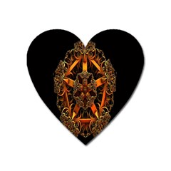 3d Fractal Jewel Gold Images Heart Magnet by Simbadda