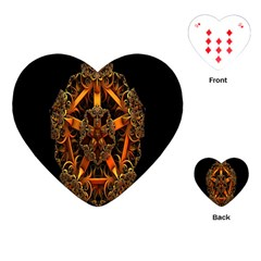 3d Fractal Jewel Gold Images Playing Cards (heart)  by Simbadda