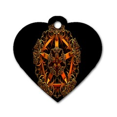 3d Fractal Jewel Gold Images Dog Tag Heart (two Sides) by Simbadda