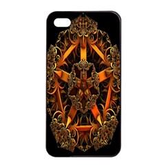 3d Fractal Jewel Gold Images Apple Iphone 4/4s Seamless Case (black) by Simbadda