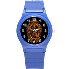 3d Fractal Jewel Gold Images Round Plastic Sport Watch (s) by Simbadda