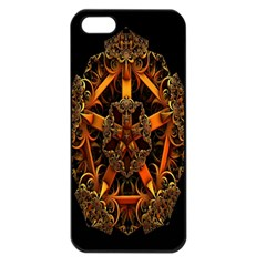 3d Fractal Jewel Gold Images Apple Iphone 5 Seamless Case (black) by Simbadda