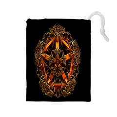 3d Fractal Jewel Gold Images Drawstring Pouches (large)  by Simbadda