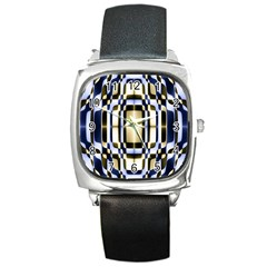 Colorful Seamless Pattern Vibrant Pattern Square Metal Watch by Simbadda