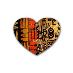 Graffiti Bottle Art Rubber Coaster (heart)  by Simbadda