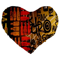 Graffiti Bottle Art Large 19  Premium Flano Heart Shape Cushions by Simbadda
