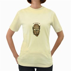 Scary Vampire Drawing Women s Yellow T Shirt by dflcprints