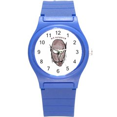 Scary Vampire Drawing Round Plastic Sport Watch (s) by dflcprints