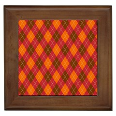 Argyle Pattern Background Wallpaper In Brown Orange And Red Framed Tiles by Simbadda