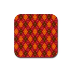 Argyle Pattern Background Wallpaper In Brown Orange And Red Rubber Square Coaster (4 Pack)  by Simbadda
