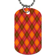 Argyle Pattern Background Wallpaper In Brown Orange And Red Dog Tag (One Side)