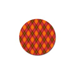 Argyle Pattern Background Wallpaper In Brown Orange And Red Golf Ball Marker (4 Pack) by Simbadda