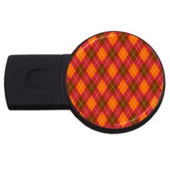 Argyle Pattern Background Wallpaper In Brown Orange And Red Usb Flash Drive Round (2 Gb) by Simbadda