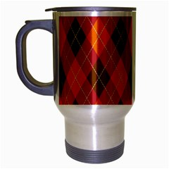 Argyle Pattern Background Wallpaper In Brown Orange And Red Travel Mug (silver Gray) by Simbadda