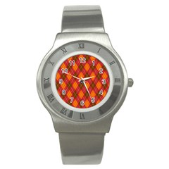 Argyle Pattern Background Wallpaper In Brown Orange And Red Stainless Steel Watch by Simbadda