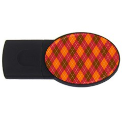 Argyle Pattern Background Wallpaper In Brown Orange And Red Usb Flash Drive Oval (4 Gb) by Simbadda