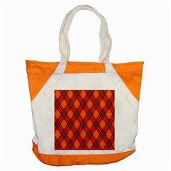 Argyle Pattern Background Wallpaper In Brown Orange And Red Accent Tote Bag by Simbadda