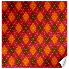 Argyle Pattern Background Wallpaper In Brown Orange And Red Canvas 12  X 12   by Simbadda