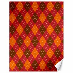 Argyle Pattern Background Wallpaper In Brown Orange And Red Canvas 18  X 24   by Simbadda
