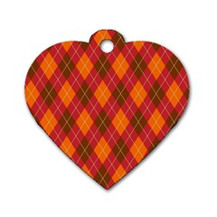 Argyle Pattern Background Wallpaper In Brown Orange And Red Dog Tag Heart (two Sides) by Simbadda
