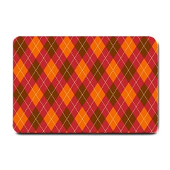 Argyle Pattern Background Wallpaper In Brown Orange And Red Small Doormat  by Simbadda