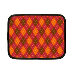 Argyle Pattern Background Wallpaper In Brown Orange And Red Netbook Case (small)