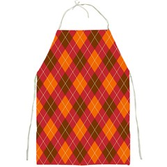 Argyle Pattern Background Wallpaper In Brown Orange And Red Full Print Aprons by Simbadda
