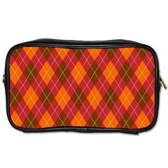 Argyle Pattern Background Wallpaper In Brown Orange And Red Toiletries Bags 2 Side
