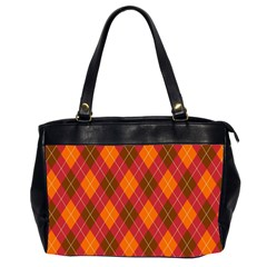 Argyle Pattern Background Wallpaper In Brown Orange And Red Office Handbags (2 Sides)  by Simbadda
