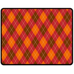 Argyle Pattern Background Wallpaper In Brown Orange And Red Fleece Blanket (medium)  by Simbadda